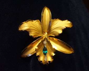 Bond Boyd Gold Vermeil Sterling Silver Floral Exotic Large Orchid Brooch Pin, with green and 2 clear Rhinestones