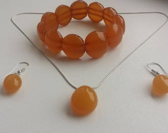Vintage baltic amber jewelry set