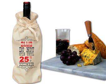 Personalised Christmas Bottle Gift Bag Sack Stocking Filler Stuffer Secret Santa Wine Bag Christmas Eve Box Do Not Open Until 25th Your Name