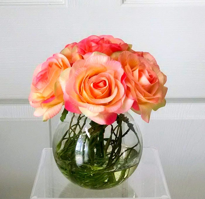Fall flower Decor-Real Touch Roses in Glass Container-Autumn Flower Decor for Home-Silk Fall Flowers in Home Decor-Fake flowers-Orange Roses