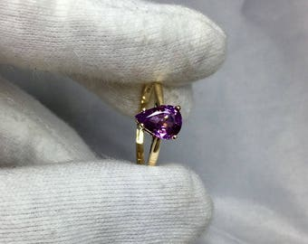 1.15ct VIVID Pink Purple Sapphire Gold Ring 14k Pear Cut Solitaire UNTREATED
