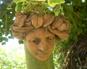 Vintage French Terracotta Lady Courtyard Ivy Graden Wall Planter,Slight Damage.