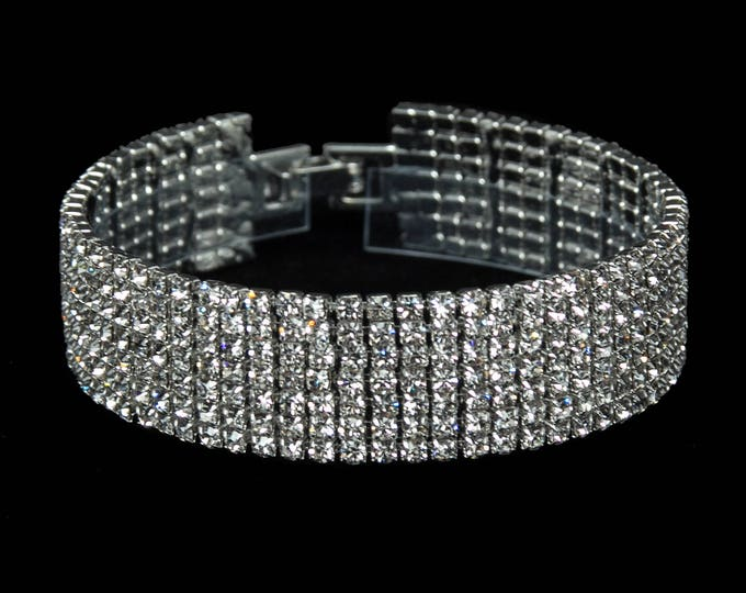 Melissa Clear Crystal Competition Bracelet for IFBB, NPC, and NANBF Bikini Fitness Bodybuilding Contests
