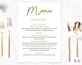 Gold + Black Wedding Menu Template | Romantic Script | Printable Menu | Editable Menu | Wedding Menu Cards | Instant Download| Gold Wedding