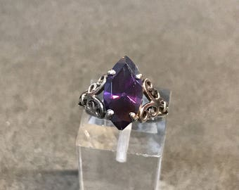 Size 4.25, vintage Sterling silver handmade ring, solid Thailand 925 silver with amethyst, stamped 925
