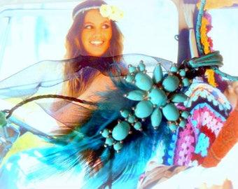 Boho turquoise cross necklace