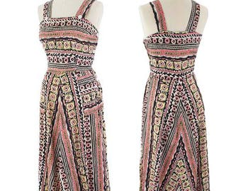 "40s Novelty Print Dress-1940s Summer Dress-Sundress-Floral-Chevron Stripe-Cotton-A Line-Midi Length- M-Medium 30"" waist"