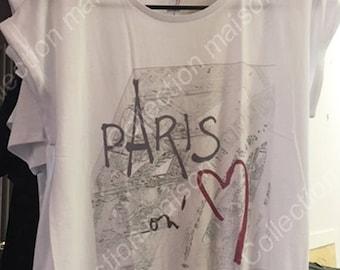 """White women t-shirt """"Paris on aime"""" / Eiffel tower"""