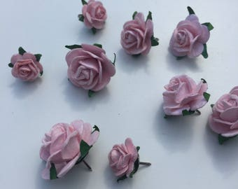 9x Light Pink Rose Push Pins Thumb Tacks