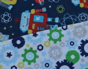 Space and robots flannel baby blanket