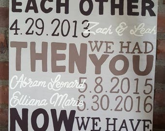 First we had each other - then we had you wood sign. Customized family names and dates