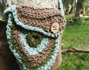 Woodland crochet foraging pouch bag made with bamboo yarn