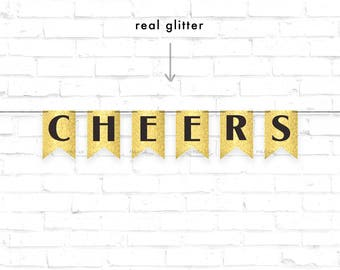 CHEERS Banner | Gold Glitter Banner | Congrats Banner | Glitter Banner | Black and Gold Banner | Black Banner | Cheers Decoration