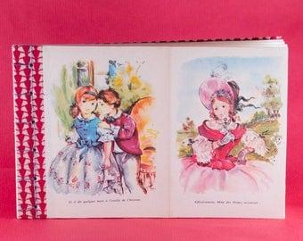 Carnet vintage, illustrations d'un livre de la Comtesse de ségur, reliure artisanale, fil de lin, fiat main, made in france, collage, rouge