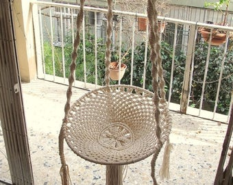 Handmade Macramé Adjustable Hammock, Swing Macrame, cotton chair, Handmade Kids Swing, Handcrafted Swing, Terrace Chair, Outdoor Chair
