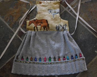 Toddler's Craft Apron with Crayons, Horses