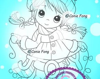 SALE Digital Stamp, Digi Stamp, digistamp, Molly's Joy by Conie Fong, Christmas, Winter, Joy, coloring page, children, girl, bird, braids