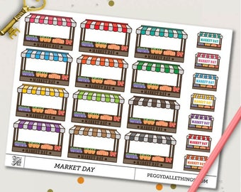 Farmer's Market Planner Stickers | Market Day Stickers | Half Boxes stickers