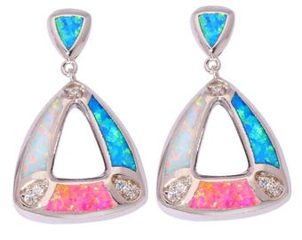 1 PAIR OF FIRE OPAL 925 STERLING SILVER TRIANGLE EARRINGS. 24 X 15 X 3 MM.