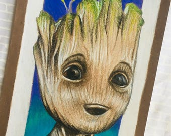 Baby Groot Original Art Print, Guardians of the Galaxy Gift, Marvel Art, groot, guardians of the galaxy