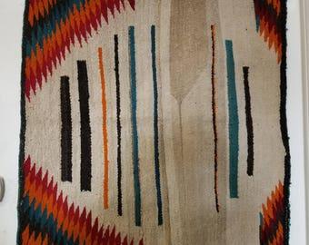 Vintage Handwoven Navajo Rug, Wool rug, native american rug, colorful rug, wall art, southwest decor, vintage southwest, collectible rug