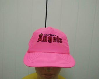 Rare Vintage CALIFORNIA ANGELS Neon Pink Embroidered Cap Hat Free size fit all