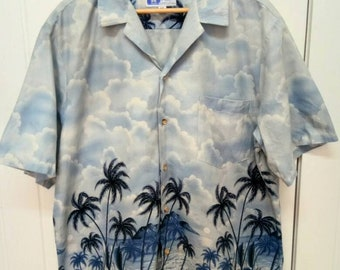 Rare Vintage RJC Beach View Full Print Hawaii Short Sleeve Button Down Hawaiian Shirt Size XL Extra Large Made in USA