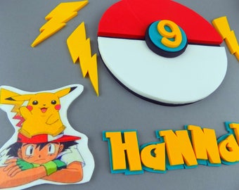 Handmade Pokemon cake edible toppers sugar paste personalised decoration,shipping from UK