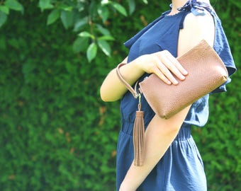 Brown leather clutch bag- Brown bag Brown handbag Brown leather bag Leather pouch Brown purse Tassel bag Leather wristlet Zipper pouch