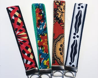 African Print Keychain // Ankara Print Key Fobs // Colorful Keychain