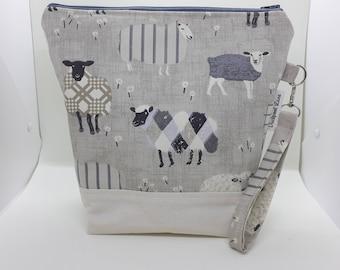 Project bag, Zipped project bag, Knitting bag, Crochet bag, Craft bag, Sheep bag, Craft storage, Yarn bag, Sheep in woolly jumpers,