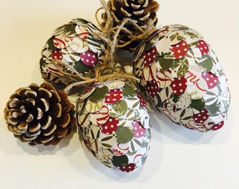 Christmas decoration- paper pine cone- rustic decoration- christmas time- home decor- tree decoration- handmade paper gift- xmas tree