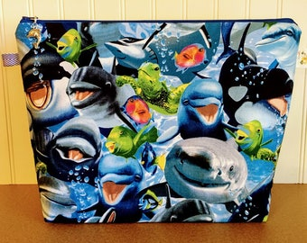 Knitting Project Bag, Knitting Bag, Large Project Bag, Zippered Knitting Bag, Shark Project Bag, Project Bag, Knitting tote