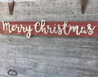 Merry Christmas wood sign, vintage Christmas decor, Merry Christmas wall hanging, barn wood Christmas decor, rustic holiday decor