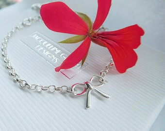 Sterling Silver Bow Bracelet, Silver Bow and Heart Bracelet, Tie The Knot Bracelet, Adjustable Chain Bracelet, Bow Charm, Wedding Bracelet