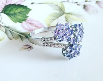 Tanzanite And White Topaz Sterling Silver Ring, Beautiful Flower Ring, Purple Gemstone Ring, Gift For Her.
