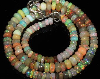 """63 Ctw 1Necklace 4to6 mm 16"""" Beads Natural Genuine Ethiopian Welo Fire Opal 7103"""