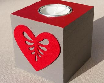 Taupe, red heart decor wooden Square candle holder
