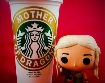 "Game of Thrones inspired ""Mother of Dragons"" Starbucks Travel Cup"