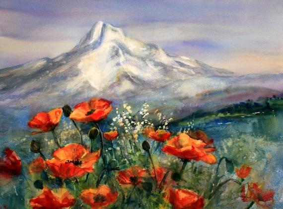 Mt. Hood 277 - signed print, watercolor, Bonnie White, Columbia Gorge Artist