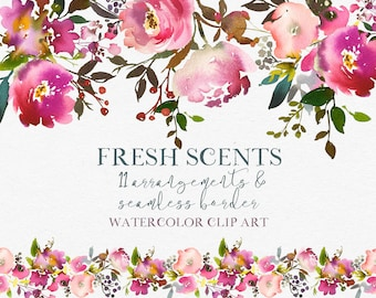 Pink Peach Flowers Peonies Roses Watercolor Clipart  Wedding Clip Art PNG Floral Bouquets Sprays Border Invitation Printable Nursery Decor