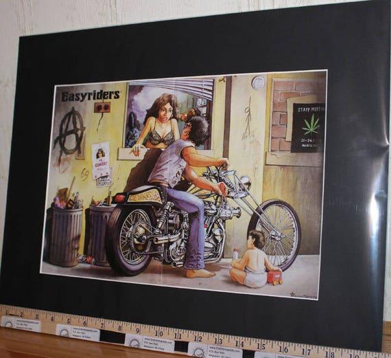 """Easyriders ''In the Alley'' by Lauren Berthe 16"""" x 20'' Matted Biker Art #9709ezrlbm"""