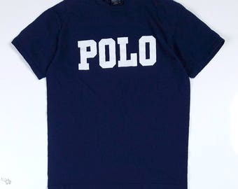 Polo Spell Out T-Shirt Size Small, Polo Logo Tee, 90s Polo By Ralph Lauren Crewneck T-Shirt