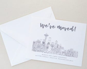 Change of Address - Seattle - Seattle Skyline - Moving Announcements - Grey Outline