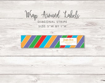 Wraparound Mailing Address Label - Diagonal Stripe - Perfect for Rodan and Fields Consultants - Label / Sticker - Marker Stripe