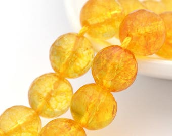 CITRINE round 10 mm natural heated stone faceted bead