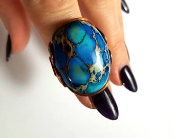 Blue Sea Ring, Size 9 Ready to Ship, Or Custom Made to Order Any Size, Shiny Copper Boho Ring, Oval Chunky Bold Statement