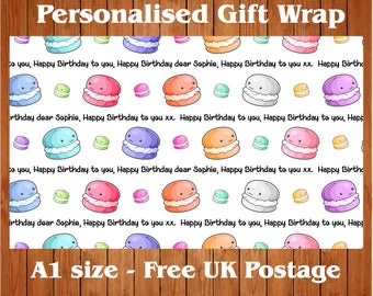 Personalised Macaroon Birthday Wrapping Paper & 2 tags