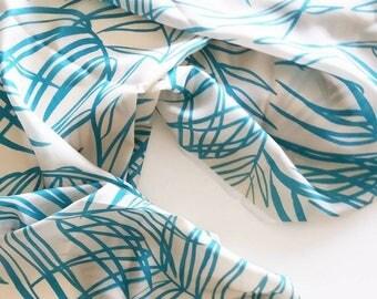 Tropical Palms Silk Fabric Per Metre Botanical Leaf Illustration Home Decor