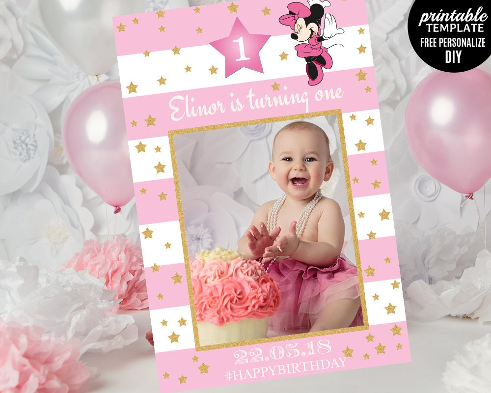 Minnie Mouse Photo Prop Template. Printable Birthday Photo Prop ...